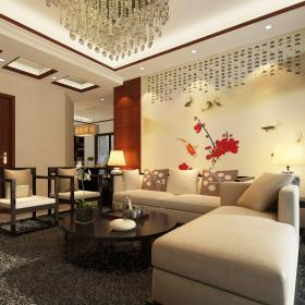 中式客厅沙发背景墙壁画装修效果图