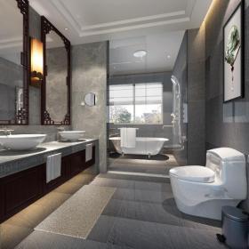 样板房交换空间大户型客厅背景墙中式风格卫生间装修效果图中式风格面盆柜图片