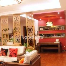 中式风格客厅餐厅木隔断装饰效果图