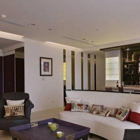 120平米混搭風格三居室混搭清新客廳設計效果圖