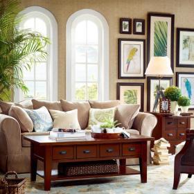 92平乡村风格二居客厅沙发背景墙装修图片乡村风格原木茶几图片效果图