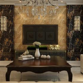 壁灯灯具家具茶几简约欧式大户型客厅石材电视背景墙装修效果图