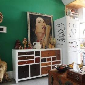 乡村风格客厅背景墙装修效果图乡村风格储物柜图片