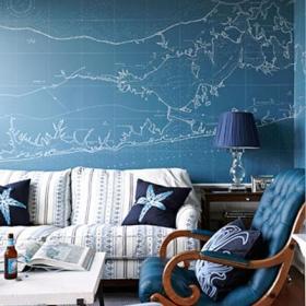 客厅另类创意地图墙贴装饰沙发背景墙效果图