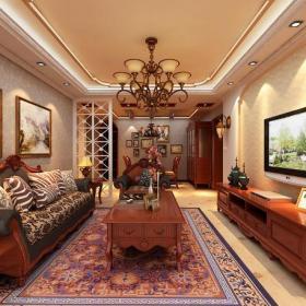 美式風格客廳背景墻裝修效果圖美式風格實木電視柜圖片