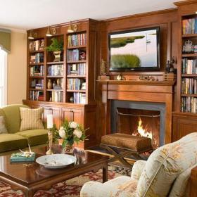 美式客厅四居室纯美式风格咖啡色客厅装修效果图