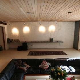簡約風格躍層簡潔經濟型客廳背景墻沙發海外家居效果圖