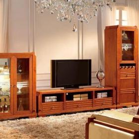 咖啡色中式客厅四居室客厅新中式大气实木电视柜效果图