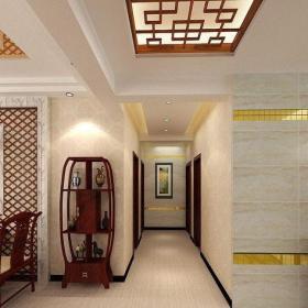 原木色中式客厅三居室中式风格客厅实木博古架设计效果图
