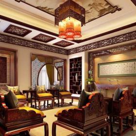 拱門埡口家具實木家具客廳吊燈中式客廳時尚大氣的中式風格客廳設計效果圖