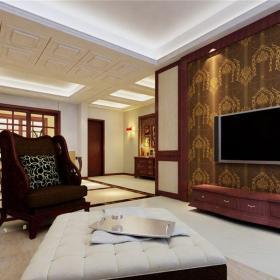 中式古典三居室客厅壁纸装修效果图