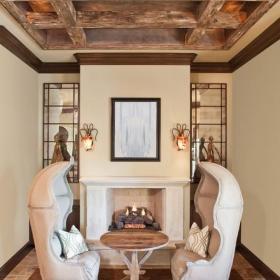新古典风格欧式风格客厅富裕型140平米以上砖砌真火壁炉设计图图片效果图