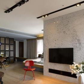 三居混搭风格客厅电视墙隔断设计效果图欣赏