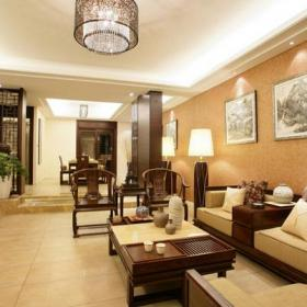 中式风格客厅沙发背景墙装修效果图中式风格椅凳图片