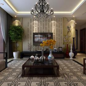 中式客廳客廳背景墻電視背景墻效果圖