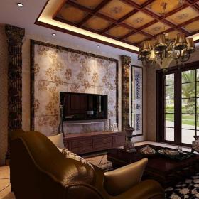 欧式复古客厅设计仿古砖装修图装修效果图
