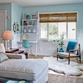 歐式客廳二居室歐式清新風格客廳藍色茶幾裝修實景圖效果圖