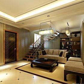 簡約中式風格躍層客廳壁紙裝修圖片效果圖