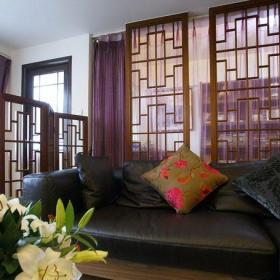 中式风格三居室客厅酒柜装修效果图大全