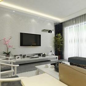 610㎡别墅新中式风格客厅电视背景墙装修效果图新中式风格置物台图片