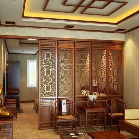 中式客厅屏风隔断装修效果图