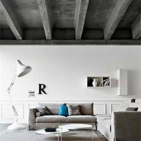 天花吊頂另類客廳復古水泥吊頂設計圖效果圖