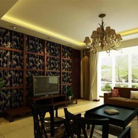 中式风格二居室客厅窗帘装修效果图大全