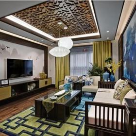中式风格三居室客厅酒柜装修效果图欣赏