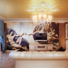 欧式风格客厅电视电视背景墙墙绘图案装修图片效果图
