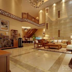 別墅客廳沙發背景墻新中式風格雞翅木博古架圖片效果圖