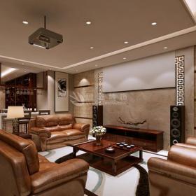 双人沙发真皮沙发家具茶几新中式大空间客厅家庭影院装修效果图