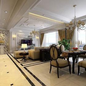 欧式风格客厅石材背景墙装修效果图欧式风格吊灯图片