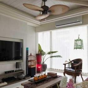 110平米東南亞風格二居室電視背景墻東南亞客廳背景墻設計效果圖