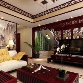 中式二层别墅客厅装饰效果图