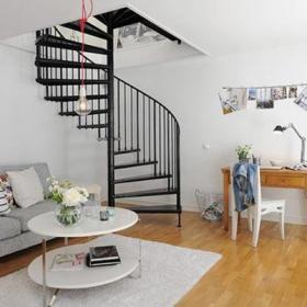 簡約風格客廳旋轉樓梯裝修效果圖簡約風格茶幾圖片