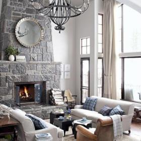 別墅120㎡混搭溫暖的壁爐暖化客廳效果圖