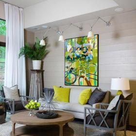 地毯混搭80㎡茶幾背景墻二居客廳茶幾精致小巧的布藝沙發效果圖欣賞