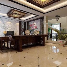 350㎡别墅中式古典客厅背景墙装修效果图中式古典无框画图片