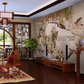 新中式風格客廳電視背景墻裝修效果圖新中式風格圓形博古架圖片