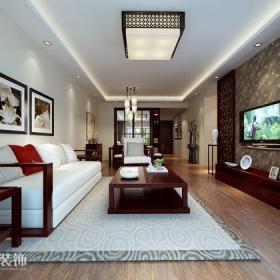 中式风格二居客厅电视背景墙装修效果图中式风格茶几沙发图片