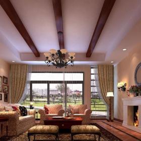 花都歐式風格客廳壁爐裝飾圖片效果圖大全