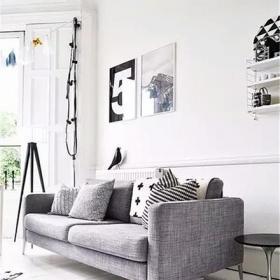 灰色简约黑白灰大客厅装修图效果图