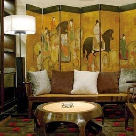 中式古典别墅客厅壁纸装修图片效果图