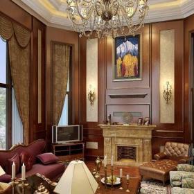 混合型风格别墅客厅吊顶装修效果图