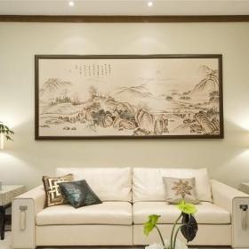 新中式客廳沙發背景墻裝飾畫圖片效果圖
