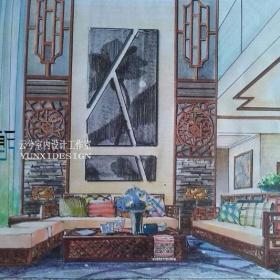 別墅客廳室內設計手繪效果圖