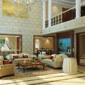 歐式風格復式樓客廳裝修效果圖歐式風格實木茶幾圖片