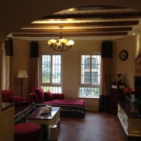 家具吊燈茶幾電視柜混搭風格客廳沙發圖片效果圖欣賞