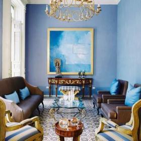 沙發背景墻地中海大戶型沙發殿堂般的水藍色客廳效果圖