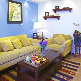 地毯70㎡小户型沙发茶几混搭风格百变客厅家装效果图